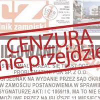 """Solidarnościowy protest tygodników lokalnych po decyzji sądu w sprawie """"Tygodnika Zamojskiego"""""""